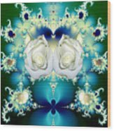 White Roses  And Blue Satin Bouquet Fractal Abstract Wood Print