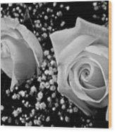 White Roses Bw Fine Art Photography Print Wood Print