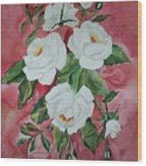 White Roses Wood Print