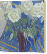 White Roses With Red And Blue Wood Print