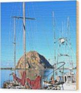 White Sail Boat Morro Rock  Wood Print