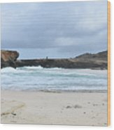 White Sand Beach And Large Rock Formations In Aruba Wood Print