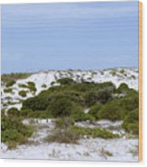 White Sand Dunes And Blue Skies Wood Print