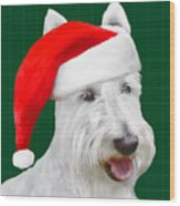 White Scottish Terrier Christmas Plaid Wood Print