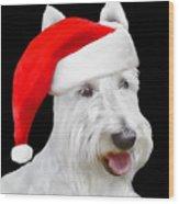 White Scottish Terrier Dog Christmas Card Wood Print