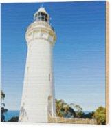 White Seaside Tower Wood Print