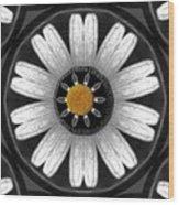 White Shimmering Flower Wood Print