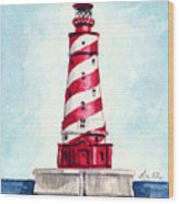 White Shoal Lighthouse Michigan Nautical Light House Red And White Candycane Stripes Wood Print