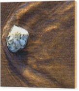 White Stone In Sand Wood Print