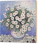 White Straw Flowers Two Wood Print