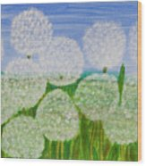 White Sunflowers, Painting Wood Print