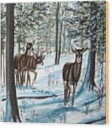 White Tail Deer In Winter Wood Print