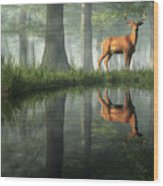 White Tailed Deer Reflected Wood Print