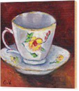White Tea Cup With Yellow Flowers Grace Venditti Montreal Art Wood Print