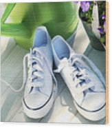 White Tennis Running Shoes Wood Print by Sandra Cunningham