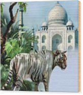 White Tiger And The Taj Mahal Image Of Beauty Wood Print