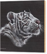 White Tiger Cub Wood Print