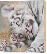 White Tiger Dreams Wood Print by Carol Cavalaris
