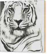 White Tiger Portrait Wood Print