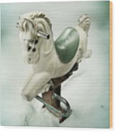 White Toy Horse Wood Print