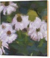 White Triangle Flowers Wood Print