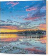 White Trout Lake Sunset - Tampa, Florida  Wood Print
