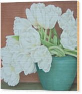 White Tulilps In Blue Vase Wood Print