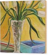 White Tulips In Cut Glass Wood Print
