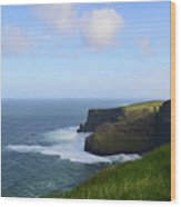 White Water At The Base Of The Cliff's Of Moher Wood Print