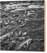 White Water Bw Wood Print