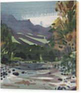 White Water On The White River Wood Print