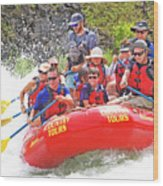 July In Oregon, White Water Rafting Wood Print