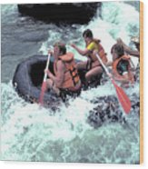 White Water Rafting Wood Print