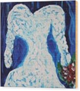 White Wedding Dress On Blue Wood Print
