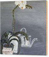 White Wild Orchid Wood Print