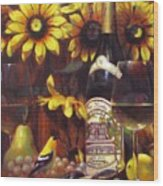 White Wine And Gold Finch With Sun Flower Wood Print
