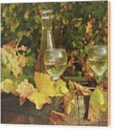 White Wine And Grape In Vineyard Wood Print