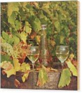 White Wine And Vineyard Autumn Season Wood Print