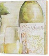 White Wine Watercolor Wood Print