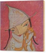 White Witch And Kitty Poo Wood Print