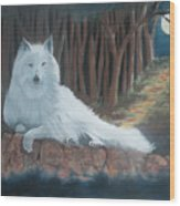 White Wolf Wood Print by Charles Hubbard