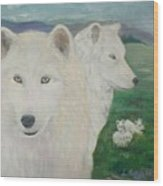 White Wolves Guarding Their Pups Wood Print