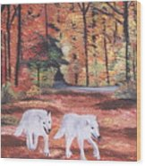 White Wolves Passing Through Wood Print