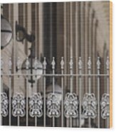 White Wrought Iron Gate In Chicago Wood Print