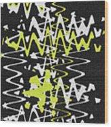 White Yellow On Black Wood Print