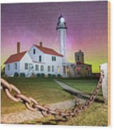 Whitefish Point Lighthouse   Northern Lights -0524 Wood Print