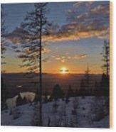 Whitefish Sunset Wood Print