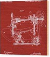 Whitehill Sewing Machine Patent 1885 Red Wood Print