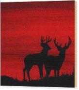 Whitetail Deer At Sunset Wood Print