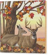 Whitetail Deer - Hilltop Retreat Horizontal Wood Print by Crista Forest